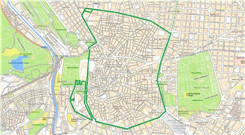 Map of Madrid Central - Low emission area with traffic restriction